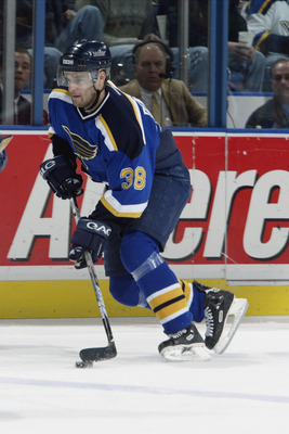 ST. LOUIS - DECEMBER 5:  Pavol Demitra #38 of the St. Louis Blues skates with the puck as he approaches the blueline against the Ottawa Senators at the Savvis Center on December 5, 2002 in St. Louis, Missouri.  The Senators and the Blues tied 2-2.  (Photo
