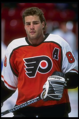 1993-1994:  Center Eric Lindros of the Philadelphia Flyers looks on during a game against the Montreal Canadiens at the Montreal Forum in Montreal, Quebec. Mandatory Credit: Robert Laberge  /Allsport