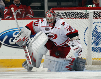 NEWARK, NJ - FEBRUARY 16:  Cam Ward #30 of the Carolina Hurricanes tends net against the New Jersey Devils at the Prudential Center on February 16, 2011 in Newark, New Jersey.  (Photo by Bruce Bennett/Getty Images)
