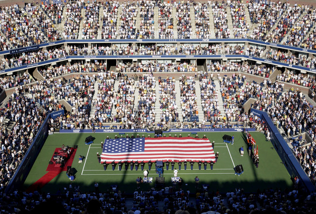 FLUSHING, NY - SEPTEMBER 8: General view of Arthur Ashe Stadium before Andre Agassi plays Pete Sampras during the finals of the US Open September 8, 2002 at the USTA National Tennis Center in Flushing Meadows Corona Park in Flushing, New York.  (Photo by