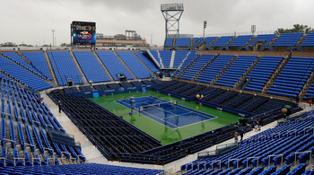 NEW YORK, NY - SEPTEMBER 06:  Rain falls on the court to delay Day Nine of the 2011 US Open at the USTA Billie Jean King National Tennis Center on September 6, 2011 in the Flushing neighborhood of the Queens borough of New York City.  (Photo by Patrick Mc
