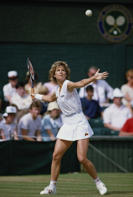 Chris Evert-Lloyd of the United States during her Women's Singles Finals match against Martina Navratilova during the Wimbledon Lawn Tennis Championship on 6th July 1985 at the All England Lawn Tennis and Croquet Club in Wimbledon in London,England.(Photo