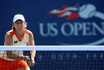 NEW YORK - SEPTEMBER 07:  Martina Navratilova plays with Nadia Petrova of Russia against Samantha Stosur of Australia and Lisa Raymond during the U.S. Open at the USTA Billie Jean King National Tennis Center in Flushing Meadows Corona Park on September 7,