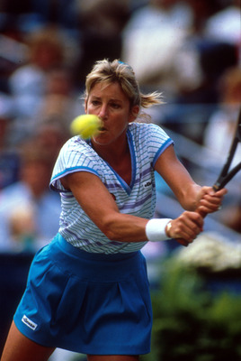 386298 01: ***Chris Evert Retrospective*** Shown here is tennis star Chris Evert playing at the 1989 US Open. (Photo by Simon Bruty/ALLSPORT)