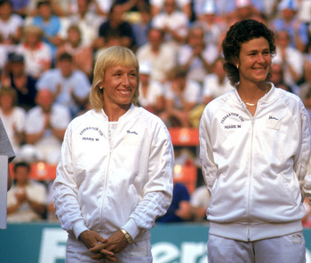 PRAGUE, CZECHOSLOVAKIA - 1986:  USA Women's Tennis team from left to right; Martina Navratilova, Pam Shriver, Chris Evert and Zena Garrison line up on the court during the 1986 Federation Cup circa July 20 - 27, 1986 at Stvanice Stadium in Prague, Czechos