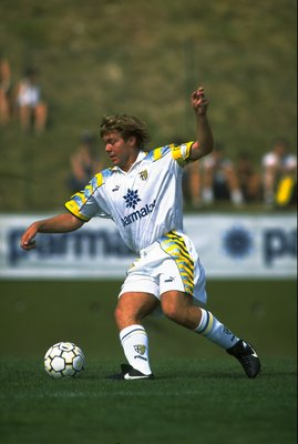 25 Jul 1995:  Tomas Brolin of Parma AC in action during a Friendly match against Rovereto in Parma, Italy. \ Mandatory Credit: Shaun  Botterill/Allsport