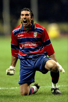 12 May 1999:  Gianluigi Buffon of Parma celebrates victory during the UEFA Cup Final against Marseille played in Moscow, Russia.  The match finished in a 3-0 win for Parma, and they added to their Coppa Italia Cup success earlier in the month. \ Mandatory