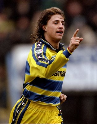 5 Dec 1999:  Hernan Crespo of Parma celebrates during the Serie A match against Torino played at the Stadio Tardini in Parma, Italy. Parma won the game 4-1. \ Mandatory Credit: Claudio Villa /Allsport