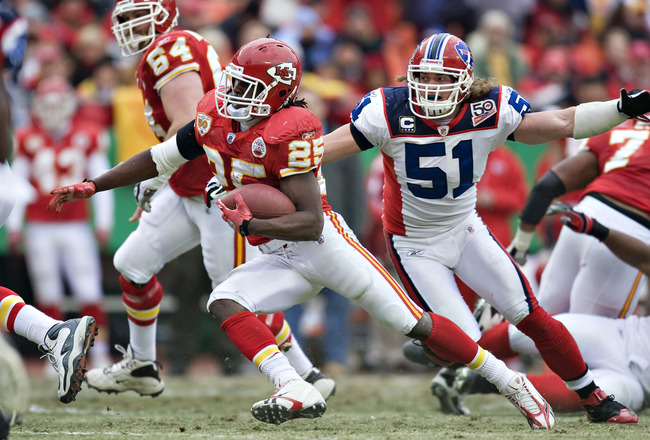 KANSAS CITY, MO - DECEMBER 13: Running back Jamaal Charles #25 of the Kansas City Chiefs  runs the ball during a NFL game action against the Buffalo Bills at Arrowhead Stadium on December 13, 2009 Kansas City, Missouri.  The Bills defeated the Chiefs 16-1