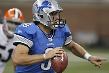 DETROIT - AUGUST 28: Matthew Stafford #9 of the Detroit Lions looks for an open receiver while playing the Cleveland Browns during a preseason game on August 28, 2010 at Ford Field in Detroit, Michigan. (Photo by Gregory Shamus/Getty Images)