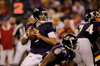 BALTIMORE, MD - AUGUST 25:  Quarterback Joe Flacco #5 of the Baltimore Ravens drops back to pass against the Washington Redskins during a preseason game at M&T Bank Stadium on August 25, 2011 in Baltimore, Maryland.  (Photo by Rob Carr/Getty Images)