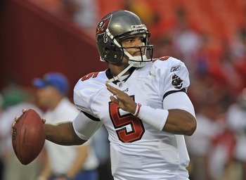 KANSAS CITY, MO - AUGUST 12:  Quarterback Josh Freeman #5 of the Tampa Bay Buccaneers before a game against the Kansas City Chiefs on August 12, 2011 at Arrowhead Stadium in Kansas City, Missouri.  (Photo by Peter Aiken/Getty Images)