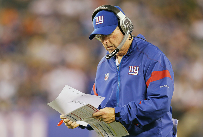 EAST RUTHERFORD, NJ - AUGUST 29:  Head coach Tom Coughlin looks on against the New York Jets during their pre season game on August 29, 2011 at MetLife Stadium in East Rutherford, New Jersey.  (Photo by Jim McIsaac/Getty Images)