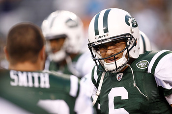 EAST RUTHERFORD, NJ - SEPTEMBER 01:   Mark Sanchez #6 of the New York Jets stands on the field before a pre-season game against the Philadelphia Eagles at MetLife Stadium on September 1, 2011 in East Rutherford, New Jersey.  (Photo by Jeff Zelevansky/Gett