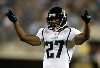 JACKSONVILLE, FL - AUGUST 19:  Rashean Mathis #27 of the Jacksonville Jaguars asks for crowd noise during a game against the Atlanta Falcons at EverBank Field on August 19, 2011 in Jacksonville, Florida.  (Photo by Sam Greenwood/Getty Images)