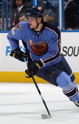 ATLANTA, GA - MARCH 27: Nik Antropov #80 of the Atlanta Thrashers skates against the Ottawa Senators at the Philips Arena on March 27, 2011 in Atlanta, Georgia. The Thrashers defeated the 5-4 in the shoot out.  (Photo by Bruce Bennett/Getty Images)
