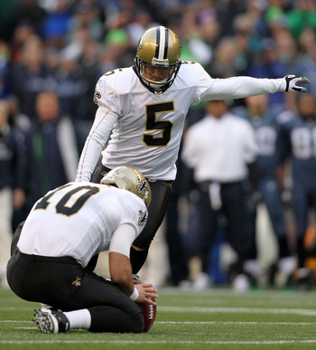 Saints kicker Garrett Hartley could be out as many as 10 weeks with a hip flexor injury.