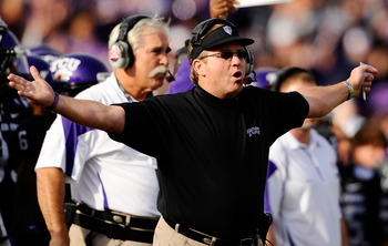 PASADENA, CA - JANUARY 01:  Head coach Gary Patterson of the TCU Horned Frogs stands on the sidelines against the Wisconsin Badgers during the 97th Rose Bowl game on January 1, 2011 in Pasadena, California.  (Photo by Kevork Djansezian/Getty Images)