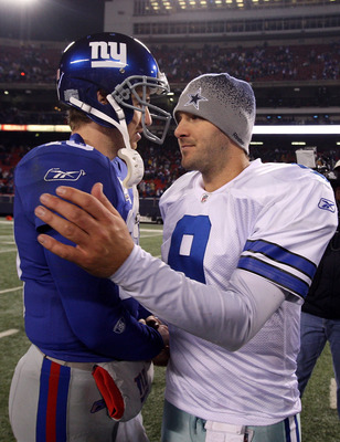 EAST RUTHERFORD, NJ - DECEMBER 06:  Eli Manning #10 of the New York Giants is congratulated by Tony Romo #9 of the Dallas Cowboys after the Giants won 31-24 at Giants Stadium on December 6, 2009 in East Rutherford, New Jersey.  (Photo by Jim McIsaac/Getty