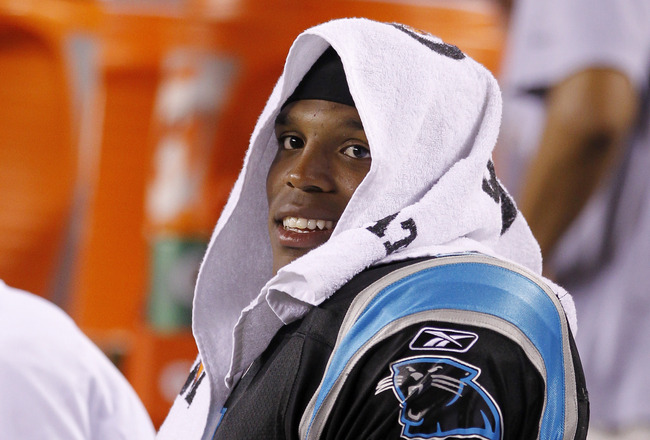 CINCINNATI, OH - AUGUST 25: Cam Newton #1 of the Carolina Panthers looks on during an NFL preseason game against the Cincinnati Bengals at Paul Brown Stadium on August 25, 2011 in Cincinnati, Ohio. The Bengals won 24-13. (Photo by Joe Robbins/Getty Images
