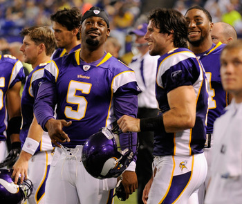 MINNEAPOLIS, MN - SEPTEMBER 1: Donovan McNabb #5, Christian Ponder #7 and Joe Webb #14 of the Minnesota Vikings speak during the first half against the Houston Texans on September 1, 2011 at Hubert H. Humphrey Metrodome in Minneapolis, Minnesota. (Photo b