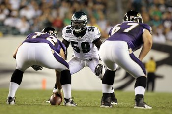 PHILADELPHIA, PA - AUGUST 11:  Brian Rolle #59 of the Philadelphia Eagles in action against the Baltimore Ravens during their pre season game on August 11, 2011 at Lincoln Financial Field in Philadelphia, Pennsylvania.  (Photo by Jim McIsaac/Getty Images)