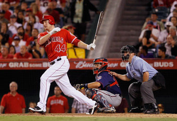 ANAHEIM, CA - SEPTEMBER 03:  Mark Trumbo #44 of the Los Angeles Angels of Anaheim hits a single against the Minnesota Twins in the eighth inning at Angel Stadium of Anaheim on September 3, 2011 in Anaheim, California.  (Photo by Jeff Gross/Getty Images)