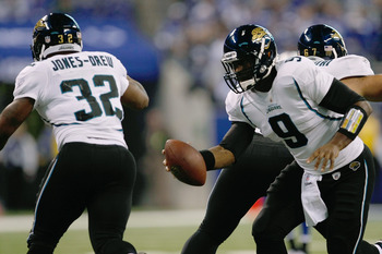 INDIANAPOLIS, IN - DECEMBER 19: David Garrard #9 of the Jacksonville Jaguars hands off to Maurice Jones-Drew #32 against the Indianapolis Colts at Lucas Oil Stadium on December 19, 2010 in Indianapolis, Indiana.  (Photo by Scott Boehm/Getty Images)