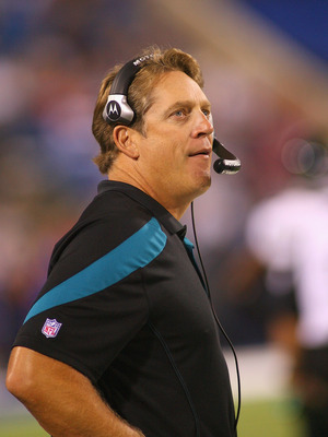ORCHARD PARK, NY - AUGUST 27:  Head coach Jack Del Rio of the Jacksonville Jaguars stands  on the sidelines against the Buffalo Bills at Ralph Wilson Stadium on August 27, 2011 in Orchard Park, New York .Buffalo won 35-32 in overtime  (Photo by Rick Stewa