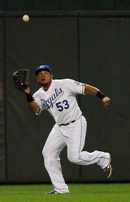 KANSAS CITY, MO - SEPTEMBER 03:  Center fielder Melky Cabrera #53 of the Kansas City Royals catches a fly ball in a game against the Cleveland Indians gets at Kauffman Stadium on September 3, 2011 in Kansas City, Missouri. The Royals defeated the Indians