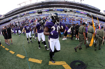 BALTIMORE, MD - AUGUST 19: Ed Reed #20 of the Baltimore Ravens takes the field before the start of a preseason game against the Kansas City Chiefs at M&amp;T Bank Stadium on August 19, 2011 in Baltimore, Maryland. The Ravens won 31-13. (Photo by Rob Carr/Gett