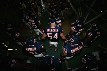 SAN DIEGO - SEPTEMBER 9:  Brian Urlacher #54 of the Chicago Bears waits with teammates in the tunnel before taking the field before the game against the San Diego Chargers on September 9, 2007 at Qualcomm Stadium in San Diego, California. The Chargers won