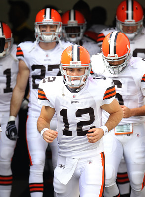 JACKSONVILLE, FL - NOVEMBER 21:  Colt McCoy #12  of the Cleveland Browns leads the team out of the tunnel during a game agaisnt the Jacksonville Jaguars at EverBank Field on November 21, 2010 in Jacksonville, Florida.  (Photo by Mike Ehrmann/Getty Images)
