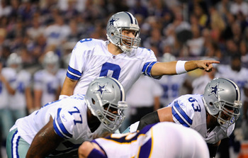 MINNEAPOLIS, MN - AUGUST 27: Tony Romo #9 of the Dallas Cowboys calls a play against the Minnesota Vikings on August 27, 2011 at Hubert H. Humphrey Metrodome in Minneapolis, Minnesota. (Photo by Hannah Foslien/Getty Images)