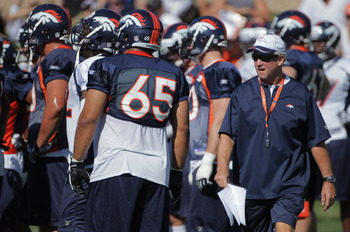 ENGLEWOOD, CO - JULY 28:  Head coach John Fox of the Denver Broncos directs the team during training camp at the Paul D. Bowlen Memorial Broncos Centre at Dove Valley on July 28, 2011 in Englewood, Colorado.  (Photo by Doug Pensinger/Getty Images)