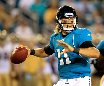 JACKSONVILLE, FL - SEPTEMBER 01:  Quarterback Blaine Gabbert #11 of the Jacksonville Jaguars attempts a pass during a game against the St. Louis Rams at EverBank Field on September 1, 2011 in Jacksonville, Florida.  (Photo by Sam Greenwood/Getty Images)
