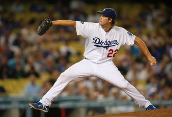 LOS ANGELES, CA - AUGUST 29:  Pitcher Clayton Kershaw #22 of the Los Angeles Dodgers pitches in the ninth inning against the San Diego Padres during the MLB game at Dodger Stadium on August 29, 2011 in Los Angeles, California. The Dodgers defeated the Pad