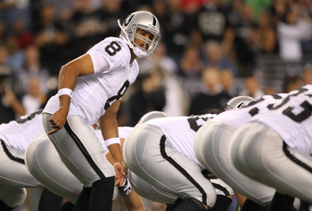 SEATTLE, WA - SEPTEMBER 02:  Quarterback Jason Campbell #8 of the Oakland Raiders looks on during the game against the Seattle Seahawks at CenturyLink Field on September 2, 2011 in Seattle, Washington. (Photo by Otto Greule Jr/Getty Images)