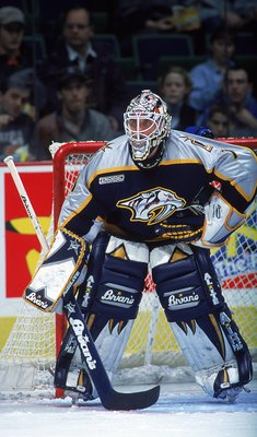 3 Nov 1999:  Goalie Mike Dunham #1 of the Nashville Predators is ready for the puck during the game against the Calgary Flames at the Canadian Airlines Arena in Calgary, Canada. The Flames defeated the Predators 5-4. Mandatory Credit: Ian Tomlinson  /Alls