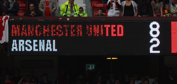 MANCHESTER, ENGLAND - AUGUST 28:  The scoreboard shows the final score of the Barclays Premier League match between Manchester United and Arsenal at Old Trafford on August 28, 2011 in Manchester, England.  (Photo by Alex Livesey/Getty Images)