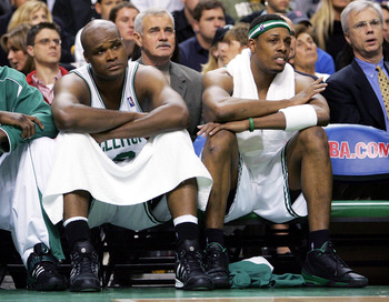 BOSTON - MAY 7: Antoine Walker #8 (L) and Paul Pierce #34 of the Boston Celtics sit on the bench during the game against the Indiana Pacers in Game seven of the Eastern Conference Quarterfinals during the 2005 NBA Playoffs at Fleet Center on May 7, 2005 i