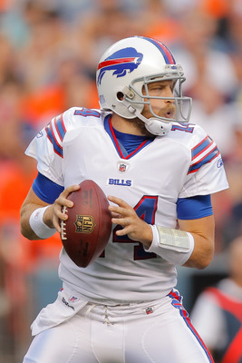 DENVER, CO - AUGUST 20:  Quarterback Ryan Fitzpatrick #14 of the Buffalo Bills in action against the Denver Broncos at Sports Authority Field at Mile High on August 20, 2011 in Denver, Colorado. (Photo by Justin Edmonds/Getty Images)