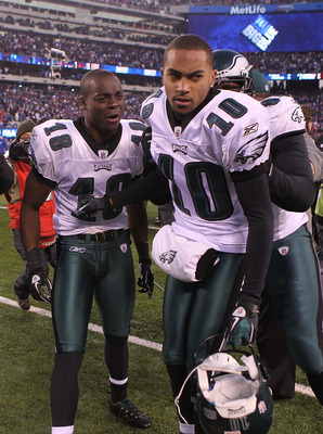 EAST RUTHERFORD, NJ - DECEMBER 19:  DeSean Jackson #10 of the Philadelphia Eagles celebrates his game winning touchdown with teammates Jeremy Maclin #18 and Brodrick Bunkley #97 against the New York Giants at New Meadowlands Stadium on December 19, 2010 i