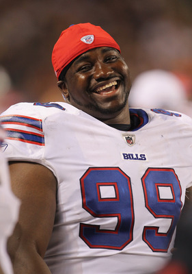CHICAGO, IL - AUGUST 13:  Marcell Dareus #99 of the Buffalo Bills laughs on the siudelines during a preseason game against the Chicago Bears at Soldier Field on August 13, 2011 in Chicago, Illinois. The Bears defeated the Bills 10-3.  (Photo by Jonathan D