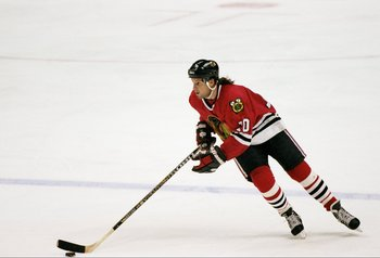 23 Nov 1996:  Defensemen Gary Suter of the Chicago Blackhawks skates down the ice during a game against the Anaheim Mighty Ducks at Arrowhead Pond in Anaheim, California.  The Ducks won the game 2-0. Mandatory Credit: Jamie Squire  /Allsport