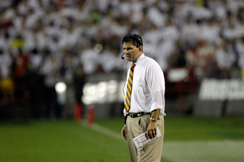COLLEGE PARK, MD - SEPTEMBER 05:  Head coach Al Golden of the Miami Hurricanes looks on from the sidelines during the first half against the Maryland Terrapins at Byrd Stadium on September 5, 2011 in College Park, Maryland.  (Photo by Rob Carr/Getty Image