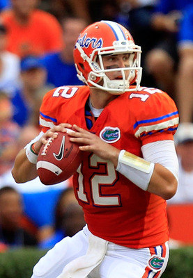 GAINESVILLE, FL - SEPTEMBER 03:  Quarterback John Brantley #12 of the University of Florida Gators attempts a pass during a game against the Florida Atlantic University Owls at Ben Hill Griffin Stadium on September 3, 2011 in Gainesville, Florida.  (Photo