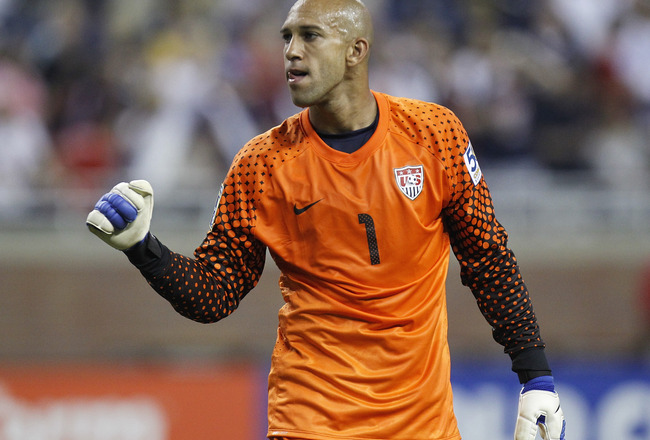 DETROIT, MI - JUNE 7: Tim Howard #1 of the United States reacts after beating Canada 2-0 during the 2011 Gold Cup  at Ford Field on June 7, 2011 in Detroit, Michigan. (Photo by Gregory Shamus/Getty Images)