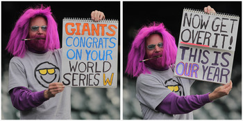 DENVER, CO - APRIL 18:  (Editors Note: This image is a composite of two photographs) Rockies fan Chris Wetherill of Colorado Springs, Colorado displays signs as he supports the Colorado Rockies as they host the San Francisco Giants at Coors Field on April