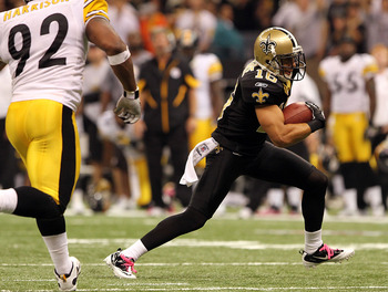 NEW ORLEANS, LA - OCTOBER 31: Lance Moore #16 of the New Orleans Saints In action against the Pittsburgh Steelers at the Louisiana Superdome on October 31, 2010 in New Orleans, Louisiana. (Photo by Matthew Sharpe/Getty Images)